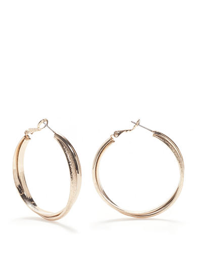 New Directions® Gold-Tone Disco Twisted Double Hoop Earrings