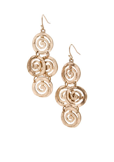 New Directions® Worn Gold-Tone Swirl Chandelier Earrings