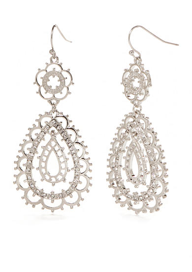 New Directions® Silver-Tone Filigree Drop Earrings