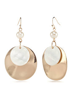 New Directions Gold-Tone In The Sand Double Ring Drop Earrings