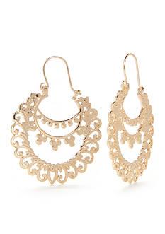 New Directions Metal Lace Gypsy Hoop Earrings