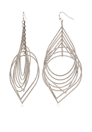 New Directions® Silver-Tone Teardrop Layered Drop Earrings