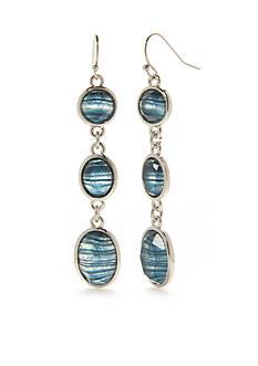 New Directions Silver-Tone Art N Motion Blue Triple Drop Earrings