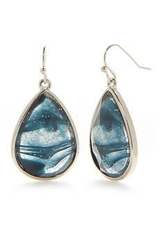New Directions Silver-Tone Art N Motion Blue Swirl Teardrop Earrings