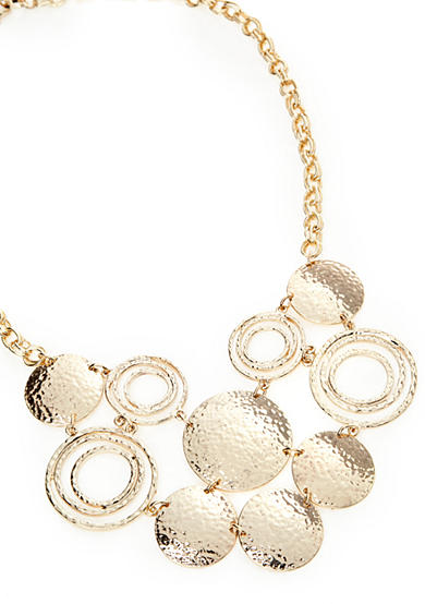 New Directions® Gold-Tone Hammered Disc Bib Necklace