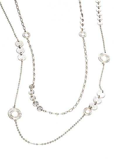 New Directions® Long Two Row Disc Necklace