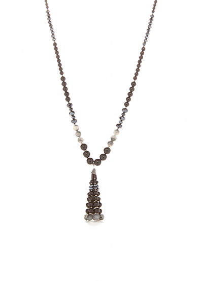 New Directions® Hematite-Tone Long Beaded Necklace