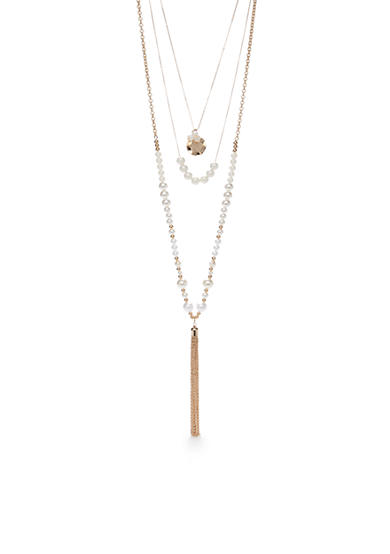 New Directions® Gold-Tone 3 Row Layer Tassel Necklace