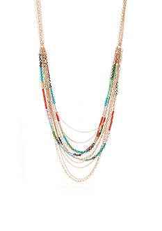 New Directions Gold-Tone The 70's Multi Color Layered Statement Necklace