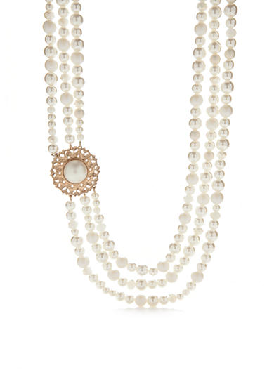 New Directions® Gold-Tone Acrylic Pearl Collar Necklace
