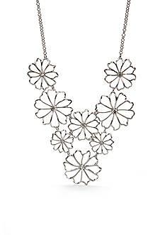 New Directions Silver-Tone Flower Statement Necklace