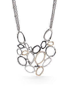 New Directions Tri-Tone Crystal Statement Necklace