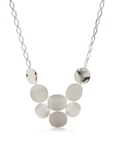 New Directions® Silver-Tone Textured Disc Necklace