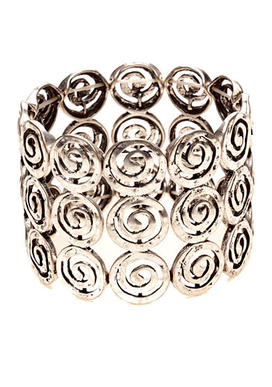 New Directions® Worn Silver-Tone Swirl Stretch Bracelet