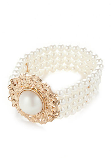 New Directions® Gold-Tone Acrylic Pearl Bracelet