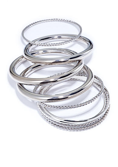 New Directions® Silver-Tone Smooth and Rope Textured Bangle Set