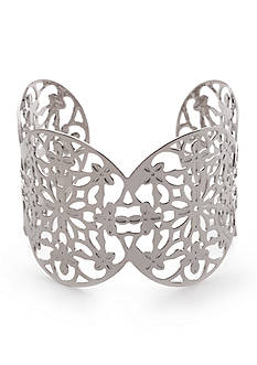 New Directions® Silver-Tone Flower Filigree Cuff Bracelet