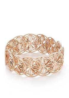New Directions Gold-Tone Geo-Patterned Stretch Bracelet