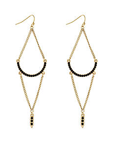 BCBGeneration Gold-Tone Jet Pave Chandelier Earrings