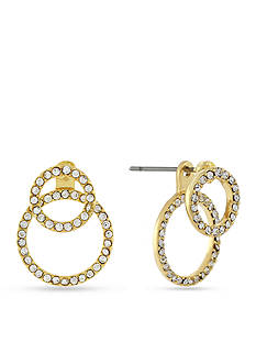 BCBGeneration Gold-Tone Crystal Circle Front and Back Earrings