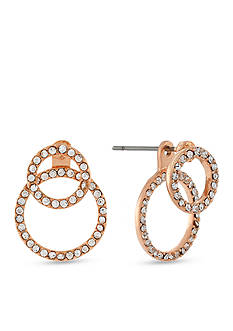 BCBGeneration Rose Gold-Tone Crystal Circles Front and Back Earrings
