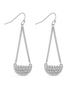 BCBGeneration Silver-Tone Half Moon Chandelier Earrings