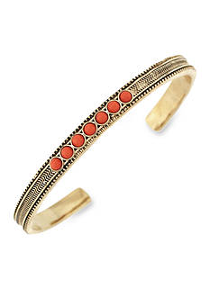 BCBGeneration Gold-Tone Golden Girl Coral Stone Cuff Bracelet