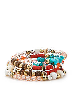 Ruby Rd Two-Tone Four Row Bead Coil Bracelet