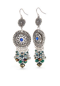 Ruby Rd Silver-Tone Bohemian Groove Double Drop Chandelier Earrings