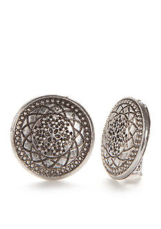 Ruby Rd Silver-Tone Mixed Metal Button Clip Earrings