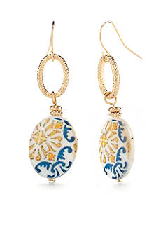 Ruby Rd Gold-Tone Moroccan Gold Double Drop Earrings