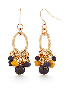 Ruby Rd Gold-Tone Moroccan Gold Cluster Drop Earrings