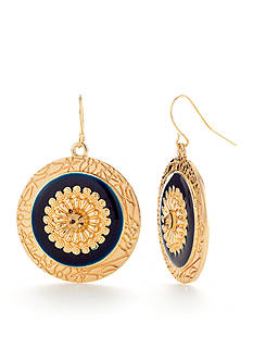 Ruby Rd Gold-Tone Moroccan Gold Disc Drop Earrings