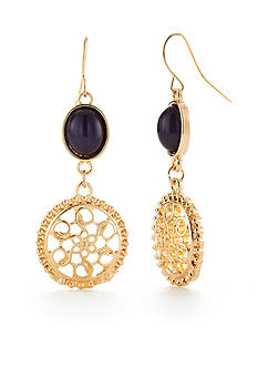 Ruby Rd Gold-Tone Moroccan Gold Filigree Drop Earrings