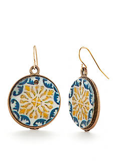 Ruby Rd Gold-Tone Moroccan Gold Mosaic Drop Earrings
