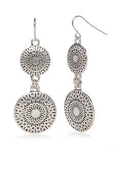 Ruby Rd Silver-Tone Metal Discs Double Drop Earrings