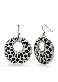Ruby Rd Silver-Tone Modern Tribe Black and White Drop Earrings