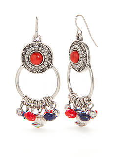 Ruby Rd Silver-Tone Americana Chandelier Earrings