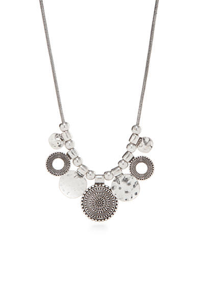 Ruby Rd Silver-Tone Metal Works Disc Necklace