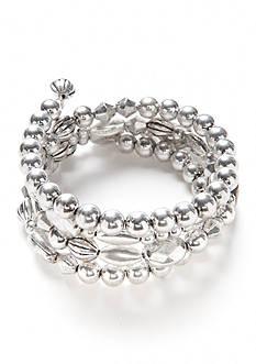 Ruby Rd Silver-Tone Metal Works Beaded Coil Bracelet