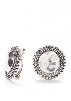 Ruby Rd Silver-Tone Metal Works Disc Clip On Earrings