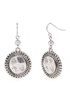 Ruby Rd Silver-Tone Metal Works Disc Drop Earrings