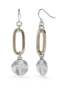Ruby Rd Gold-Tone Metal Works Link Silver Disc Drop Earrings
