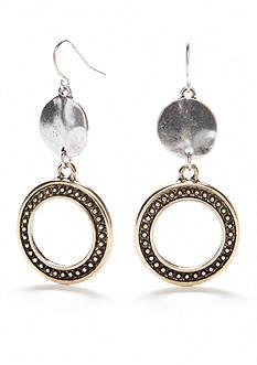 Ruby Rd Two-Tone Metal Works Open Ring Drop Earrings