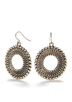 Ruby Rd Gold-Tone Metal Works Open Ring Drop Earrings