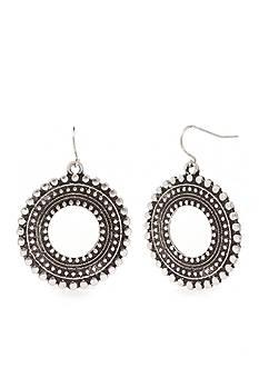 Ruby Rd Silver-Tone Metal Works Open Ring Drop Earrings