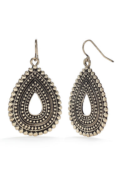 Ruby Rd Gold-Tone Metal Works Textured Teardrop Earrings