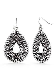 Ruby Rd Silver-Tone Metal Works Textured Teardrop Earrings