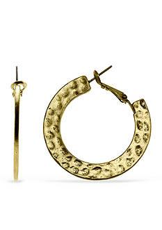 Ruby Rd Gold-Tone Metal Works Hammered Hoop Earrings