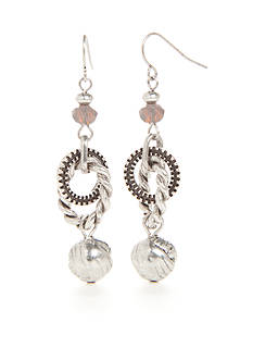 Ruby Rd Silver-Tone Dream Weaver Double Ring Drop Earrings